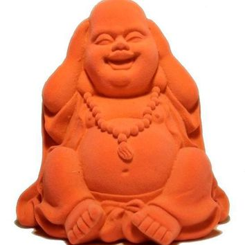 Neon Orange Boho Laughing Buddha Figurine