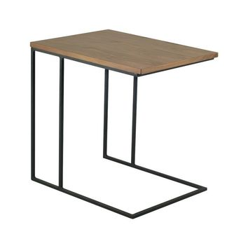 Modern Scandinavian Walnut Myron Side Table with Black Powder Coated Metal Legs