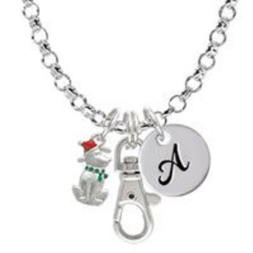 2-D Christmas Dog with Red Hat Initial - I - Badge Clip Necklace