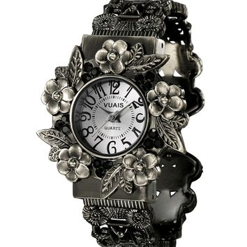 Retro Embossing Flower Watch - OASAP.com