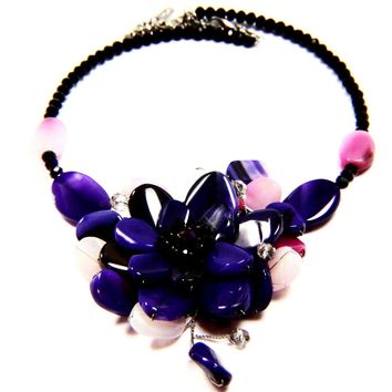Colorful Agate Natural Stone Flower and Crystal Wire Choker Necklace