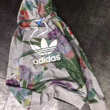 LMFOK3 Adidas Women Long Sleeve Casual Top Pullover Floral Cotton Hoodie Sweatshirt Hoodie
