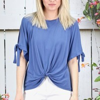 Front Twist Open Sleeve Modal Top {Dusty Blue}