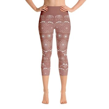 Elephant Mandala in Copper Red Yoga Capri Leggings