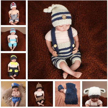 Latest Crochet Newborn Baby Photography Props Knitted Baby Hat Pants Costume Set Policeman Sailor Elf Outfit SG055