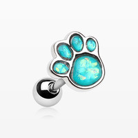 Adorable Paw Print Opal Sparkle Cartilage Tragus Earring