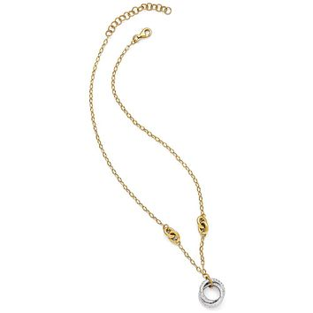 Italian Entwined Circle 14k Two Tone Gold Necklace, 16-18 Inch