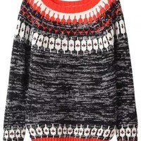 Heather Grey Graphic Knit Sweater - OASAP.com