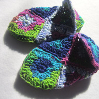 Most Colorful Crocheted Granny Square Slippers Ever Size Small