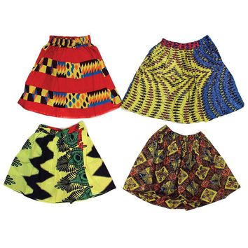 Set of 4 Assorted African Print Mini Skirts