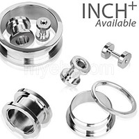 316L Surgical Steel Screw Fit Tunnel Plug Up to 2""