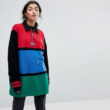 Lazy Oaf Oversized Rugby Shirt With Zip Neck In Colourblock at asos.com