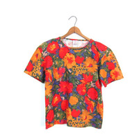 Abstract Floral Blouse Red Yellow Spring Cotton Crop Top Short Sleeve Tshirt Colorful 90s Revival Beach Shirt Sunflowers Womens Small