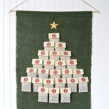 Tea Advent Calendar | 24 Handmade Numbered Tea Bags | Garland Style Christmas Countdown Kit w/ Clothespins