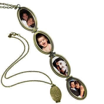 Evelots 4 Photo Locket Necklace,Antiqued Bronze Tone 4 Folds Keepsake,18 Inches
