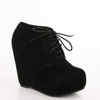 Camilla Wedge Boot in Black  - ShopSosie.com