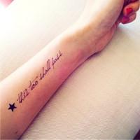 This Too Shall Pass quote with star temporary tattoo - InknArt Temporary Tattoo -  wrist neck ankle small tattoo tiny tattoo