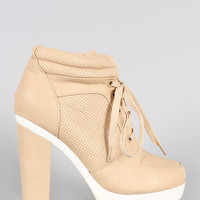 Perforated Lace Up Contrast Lug Sole Platform Heeled Sneaker