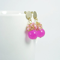 wire wrapped earrings with pearlescent seed beads and glass beads /hot pink dangle earrings