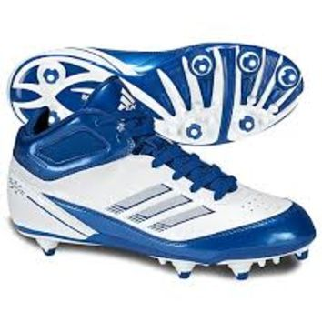 Adidas Men's Scorch X Mid D Football / Lacrosse Cleat ~ White/Collegiate Royal/ Silver