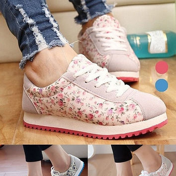 2015 Fashion New Design Women's Canvas Shoes Casual Floral Printing Running Shoes = 1714487684