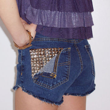 Vintage High Waisted Studded Pocket Denim Shorts by BohoJane