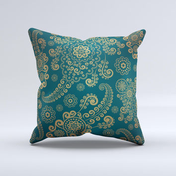 Green & Gold Lace Pattern Ink-Fuzed Decorative Throw Pillow