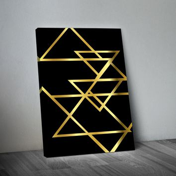 Gold Triangles Abstract Art Print