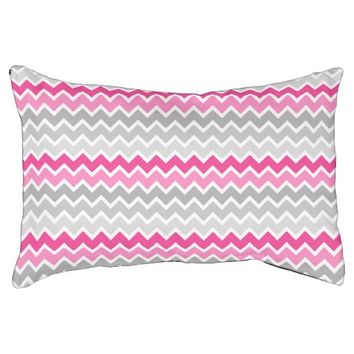 Hot Pink Grey Gray Ombre Chevron Zigzag Pattern Small Dog Bed