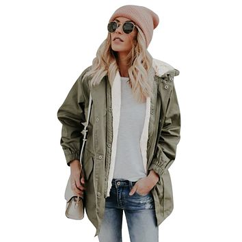 Army Green Zip Front Jacket with Pockets