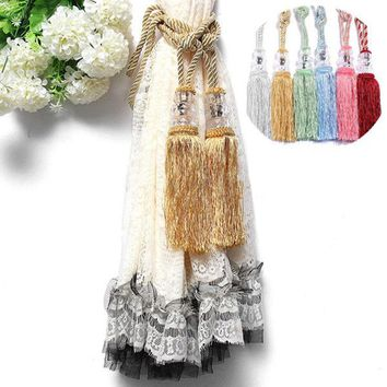 Hot Selling 1 Pair High Imitation Crystal Ball Beaded Tassel Tiebacks Holdback Home Window Curtain Tie Backs Decoration