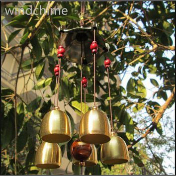 62cm  Copper 5 Bells Pentagon Pavilion Coin Drawing Home Yard Garden Feng Shui Wind Chimes Friend Gift WY079