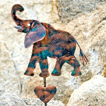 Elephant / Garden Art / Metal Yard Art / Copper / Plant Stake / Elephant Sculpture / Outdoor / Gift / Patina / Garden Marker / Wildlife