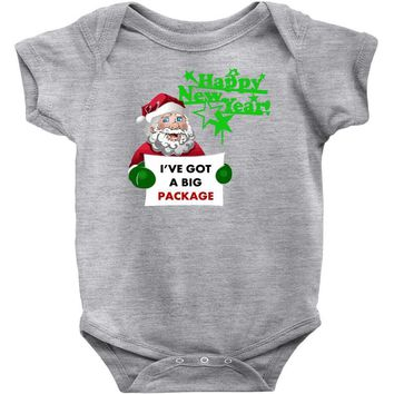heapy new year funny santa claus christmas Baby Onesuit