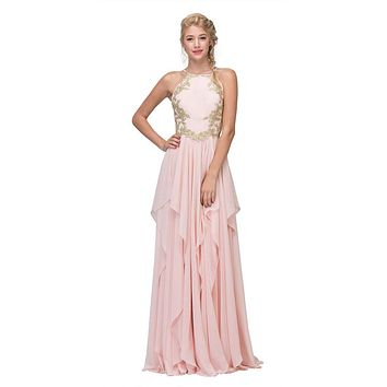 A-line Tiered Long Prom Dress Appliqued Bodice Blush