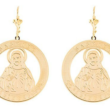 Two Year Warranty Gold Overlay Sagrado Coracao De Jesus Piece Dangle Earrings