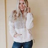 Cozy Nights Fuzzy Sherpa Half Zip - Taupe