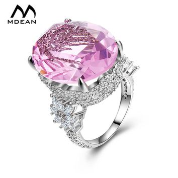 MDEAN Pink Stone White Gold Color Wedding Rings For Women Engagement Big AAA Zircon Jewelry Ring Fashion Bague MSR812