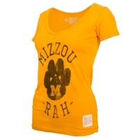 The Mizzou Store - Mizzou Juniors' Vintage PawPrint Bright Gold Short Sleeve V-Neck T-Shirt