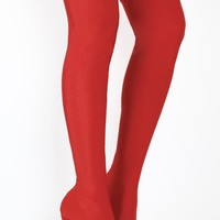 Bali High Heel Pointy Toe Red Stretch Lycra Stocking Thigh Boots