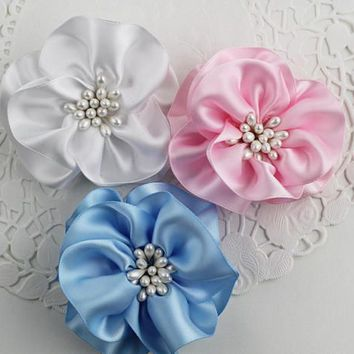 Baby Shower Flowers Satin Ribbon Flowers Party Table Decorations Pin Back Hair Clip Sew On Flower Applique, (Set of 3) SweetpeaSkyBlueWhite