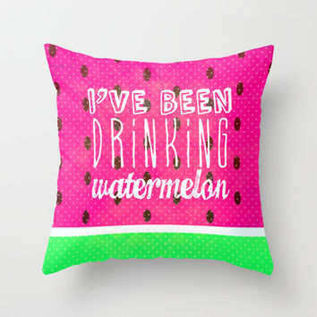 Drinking Watermelon Throw Pillow by M Studio