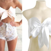 White Bow Tie Front Silk Satin Cropped Top Bralet Bustier Corset  XS