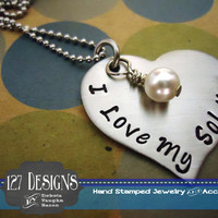 I Love My Soldier Heart Necklace - Hand Stamped Stainless Steel SHIPPED in 10-14 Days SHIPPING TIME 3-5 Days