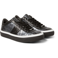 Jimmy Choo - Portman Metallic Crocodile-Embossed Leather Sneakers | MR PORTER