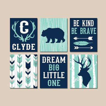 WOODLAND NURSERY Wall Art, Baby Boy Tribal Decor, Arrows Deer Bear Antlers Birch Tree, Dream Big, Be Brave Kind Canvas or Prints Set of 6