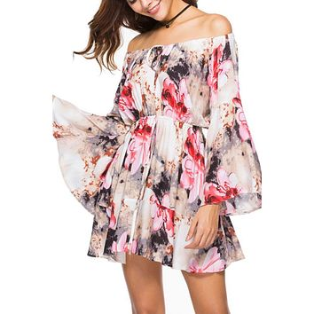 Off Shoulder  Printed  Bell Sleeve  Long Sleeve Skater Dresses