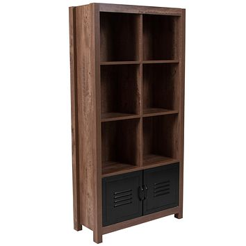 New Lancaster Collection Storage Shelf with Metal Cabinet Doors