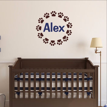Puppy Paw Print Frame With Name Vinyl Wall Decal 22545