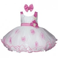 Ivory and Fuchsia Baby Flower Girl Dress with Floral Bodice-Fuchsia/Off White-M